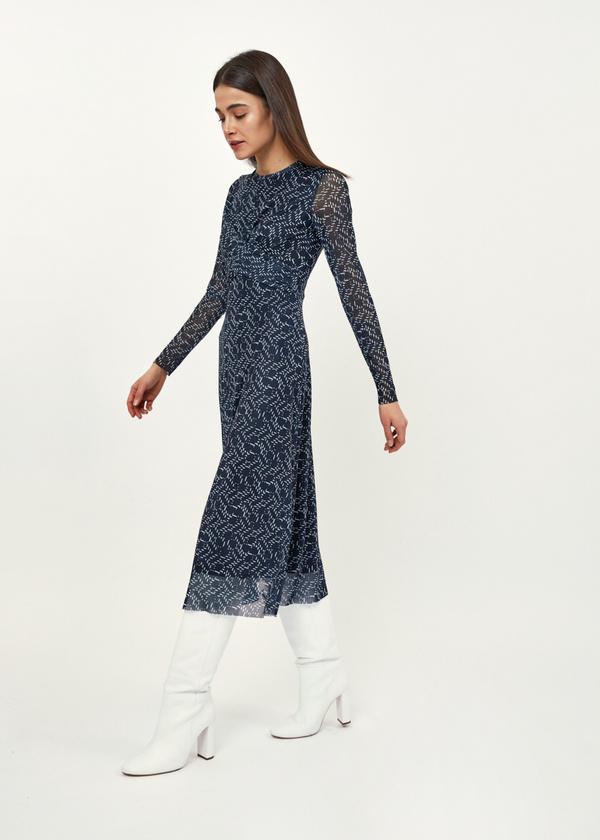 Платье-миди сетчатое на подкладе - фото 4