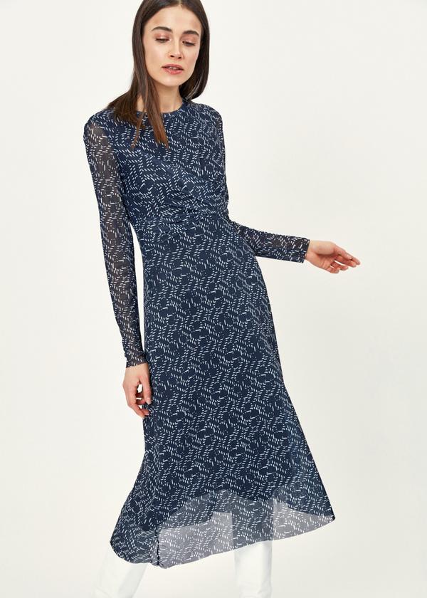 Платье-миди сетчатое на подкладе - фото 5