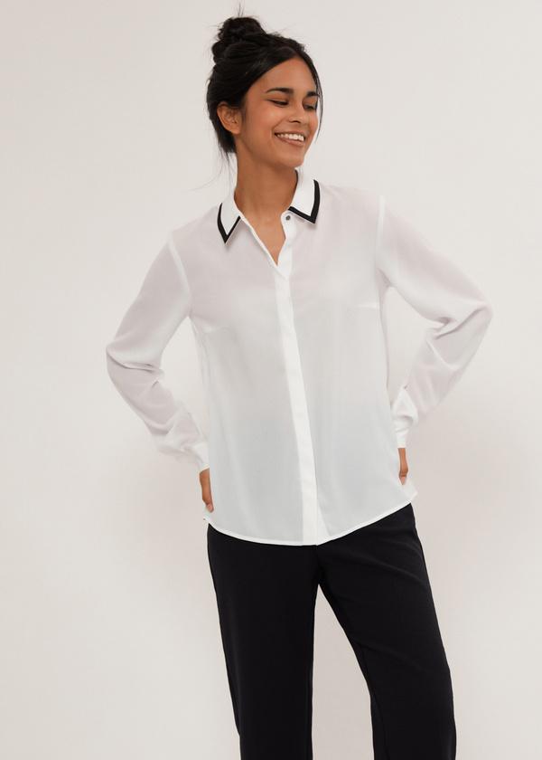 Блузка с контрастным воротником - фото 1