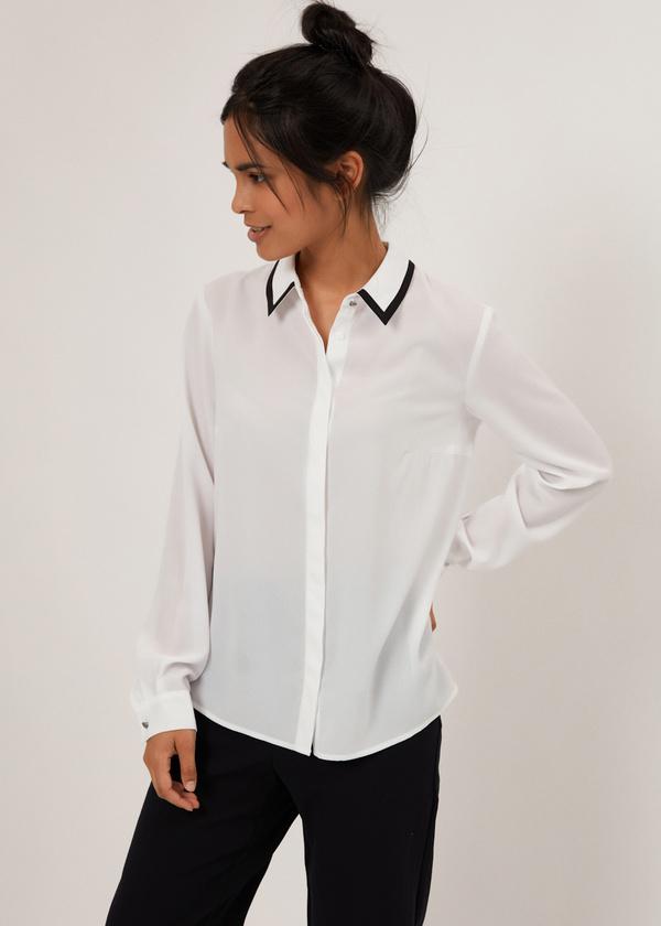 Блузка с контрастным воротником - фото 2