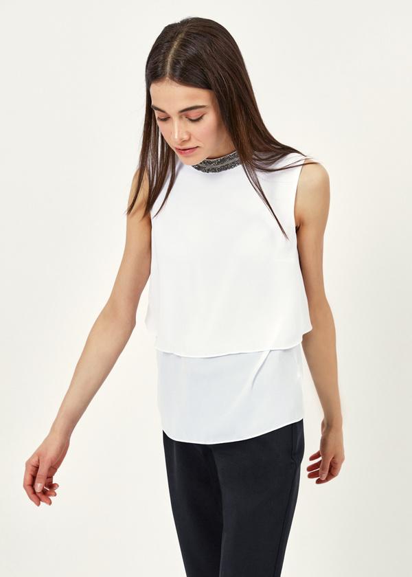 Двухярусная блузка с бисером - фото 1