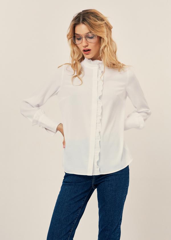 Блуза с воланами и воротником стойка - фото 2