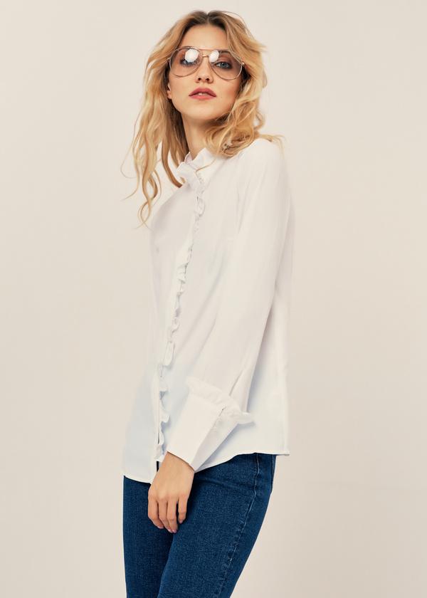 Блуза с воланами и воротником стойка - фото 4