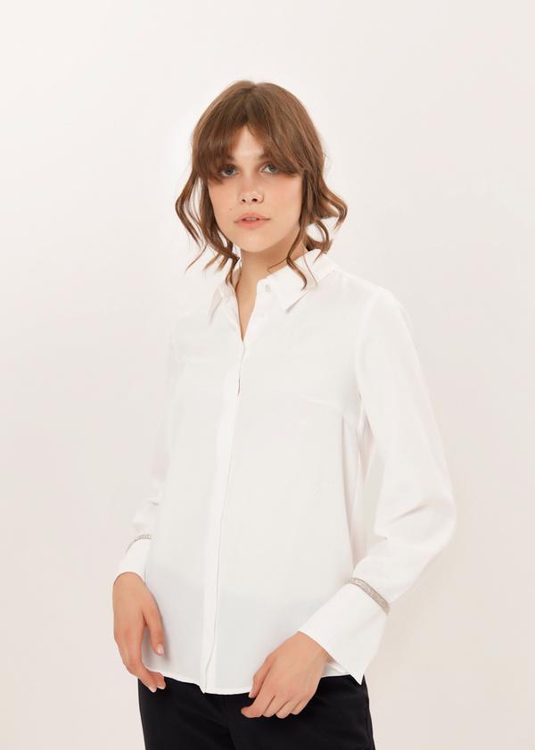Блузка с декорированными манжетами - фото 4