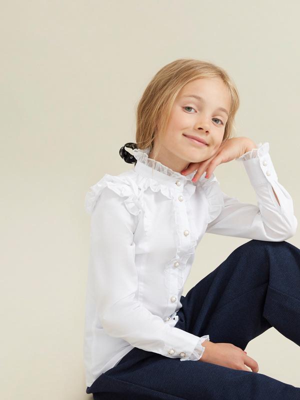 Блузка для девочек с воротником-стойка - фото 2