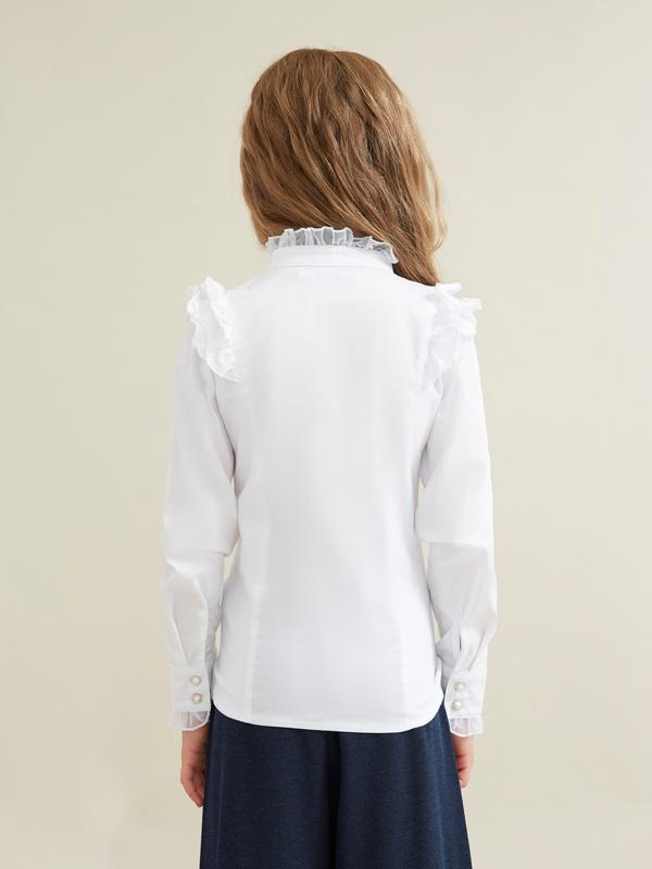 Блузка для девочек с воротником-стойка - фото 3