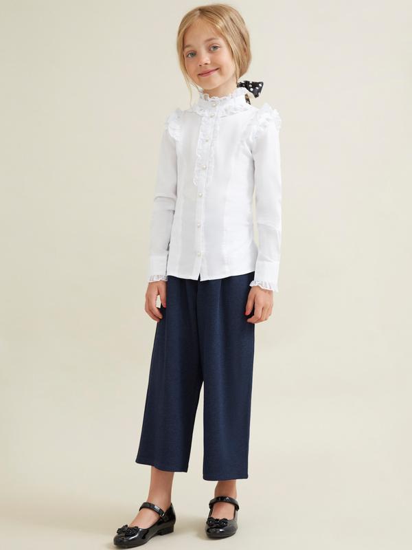 Блузка для девочек с воротником-стойка - фото 4