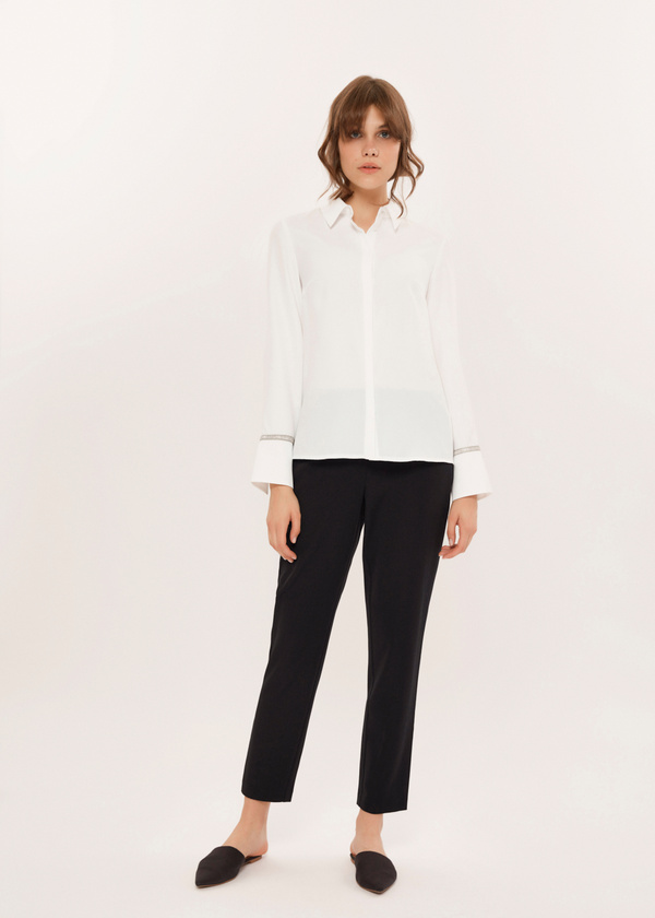 Укороченные брюки с эластичным поясом - фото 4