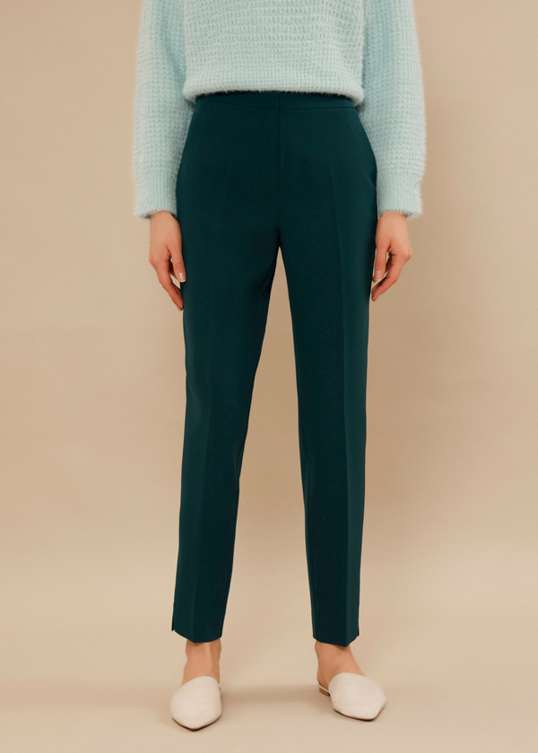 Укороченные брюки со стрелками и боковыми карманами - фото 2