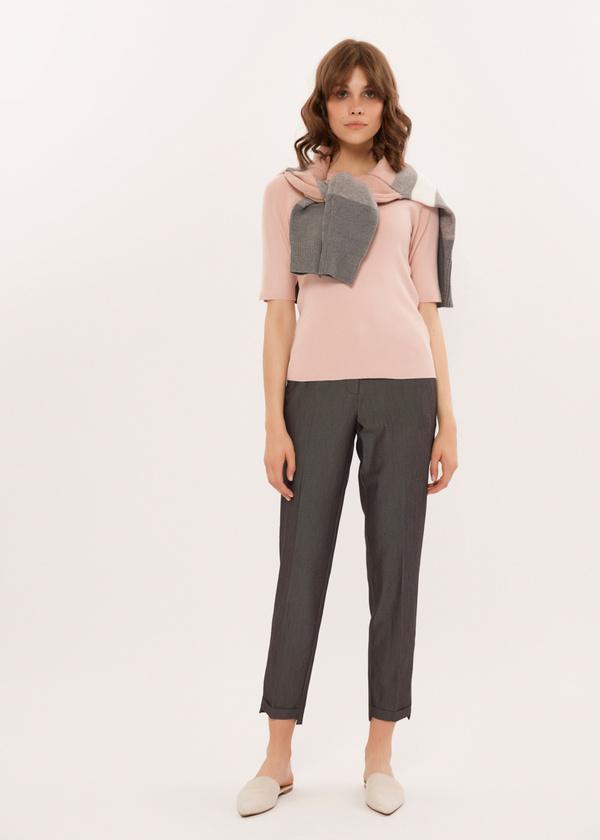Укороченные брюки с асимметричным низом - фото 1