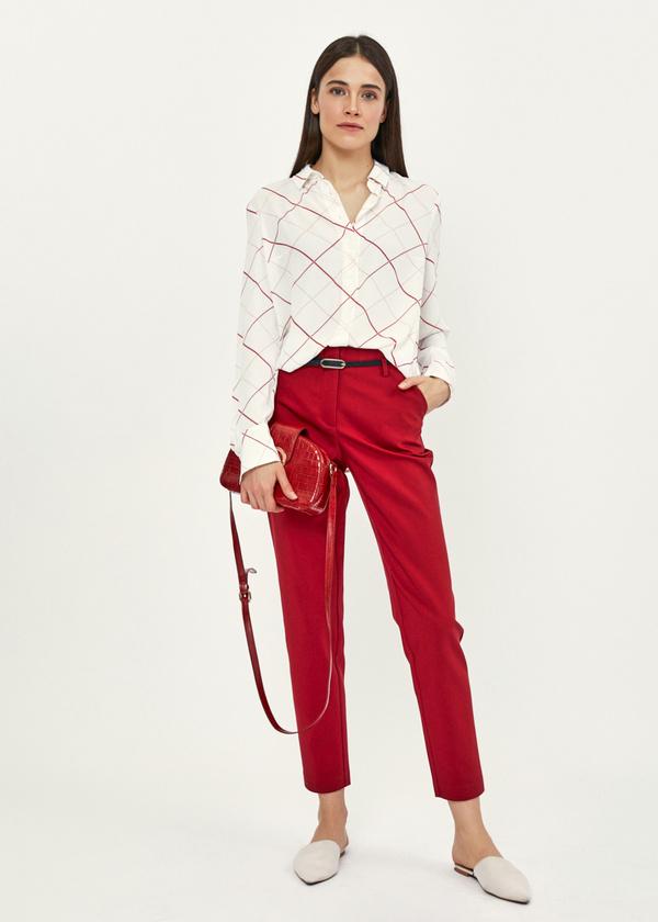 Укороченные брюки с ремешком - фото 1