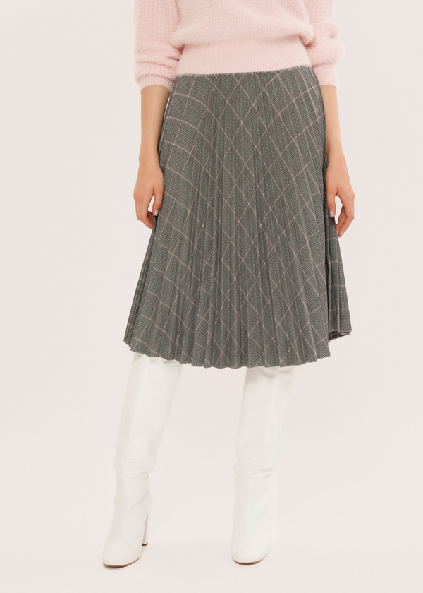 Плиссированная юбка-миди в клетку - фото 2