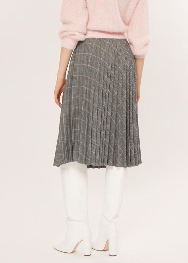 Плиссированная юбка-миди в клетку - фото 3