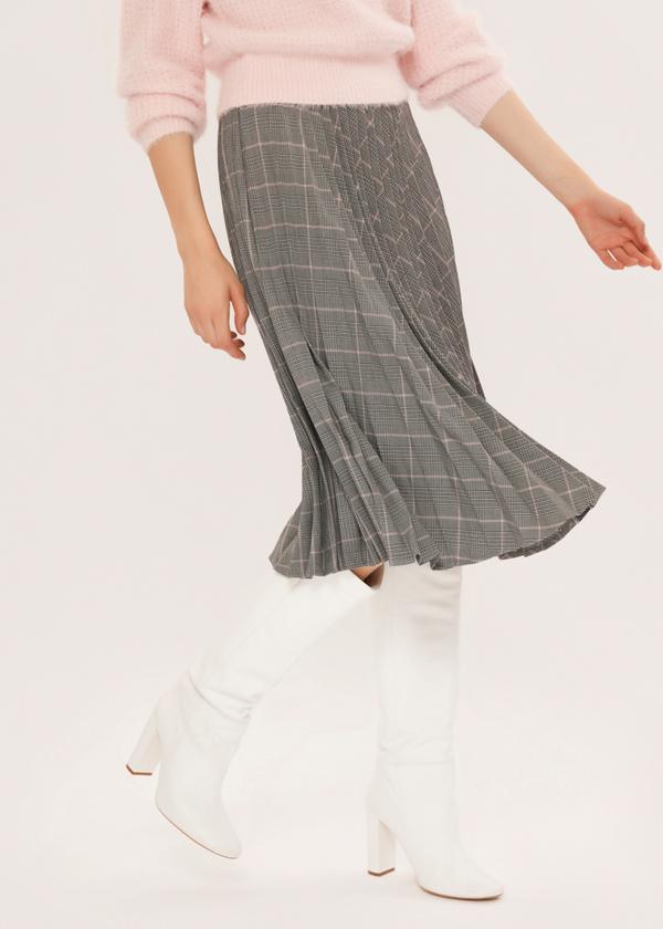 Плиссированная юбка-миди в клетку - фото 4