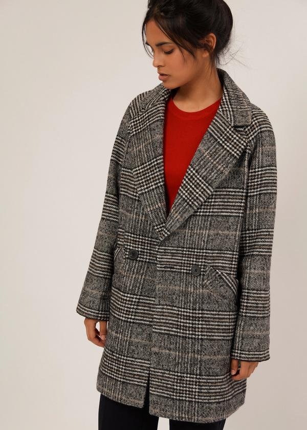 Двубортное пальто с карманами - фото 6
