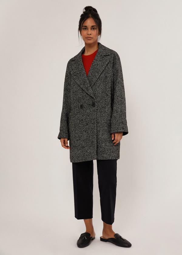 Двубортное укороченное пальто - фото 1