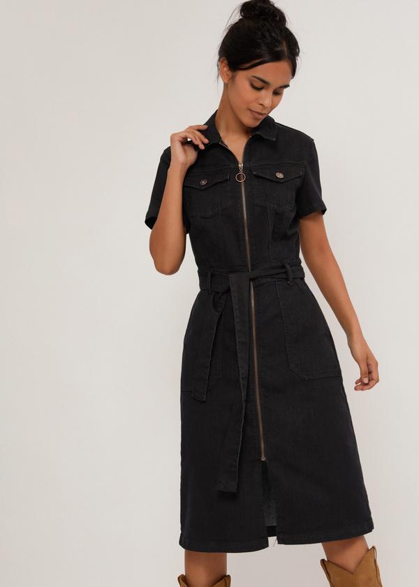 Джинсовое платье с поясом - фото 2