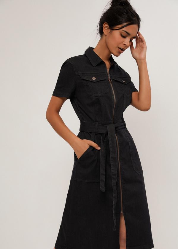 Джинсовое платье с поясом - фото 3