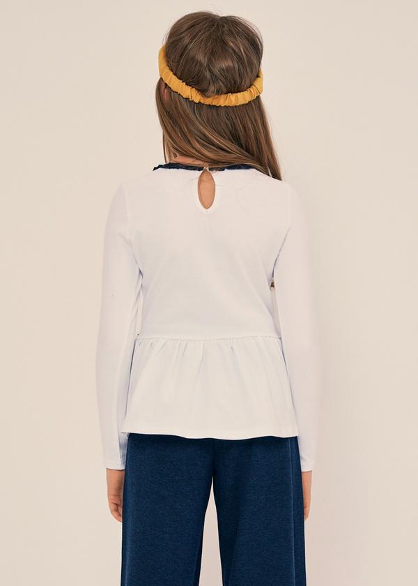 Блузка из хлопка с баской - фото 3