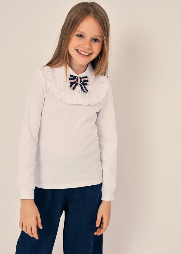 Блузка из хлопка с отложным воротником - фото 1