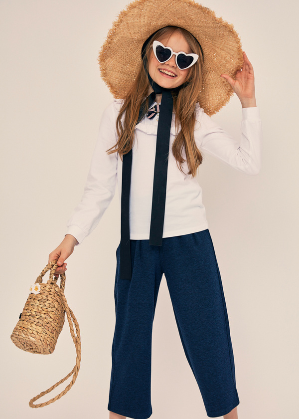 Блузка из хлопка с отложным воротником - фото 4