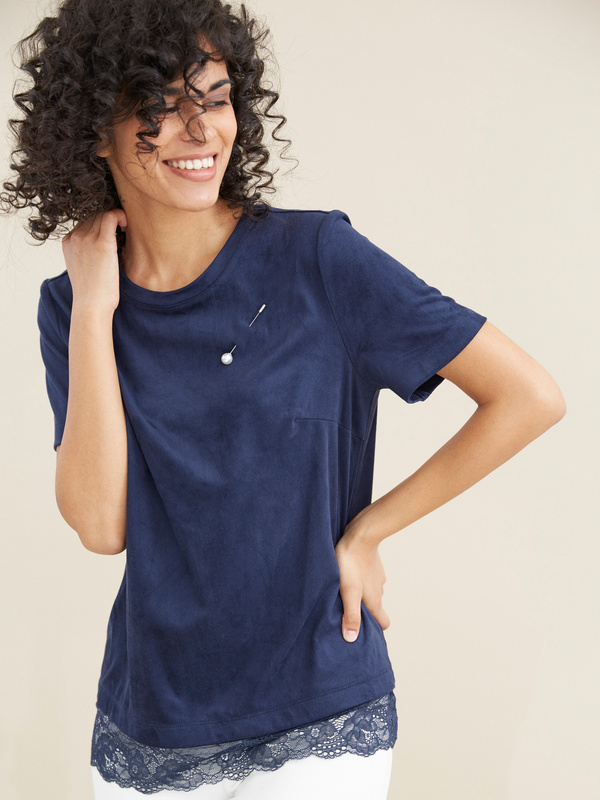 Блузка с кружевом имитация замши - фото 2