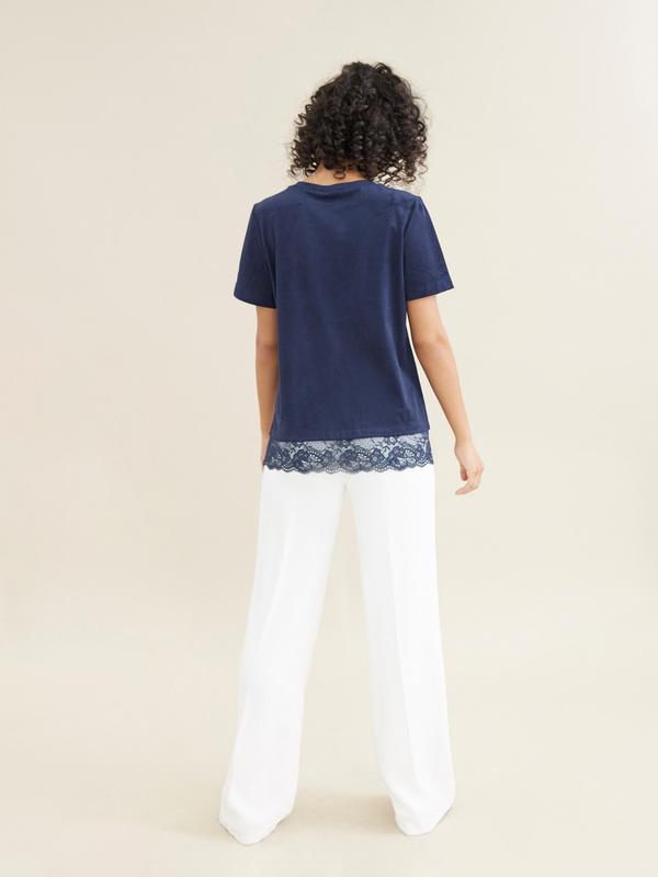 Блузка с кружевом имитация замши - фото 3