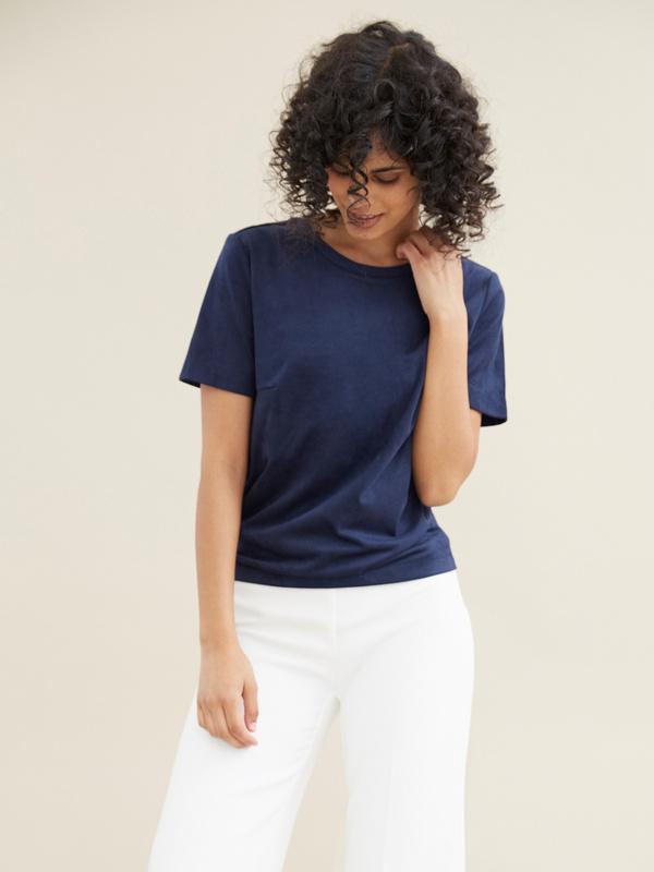 Блузка с кружевом имитация замши - фото 4