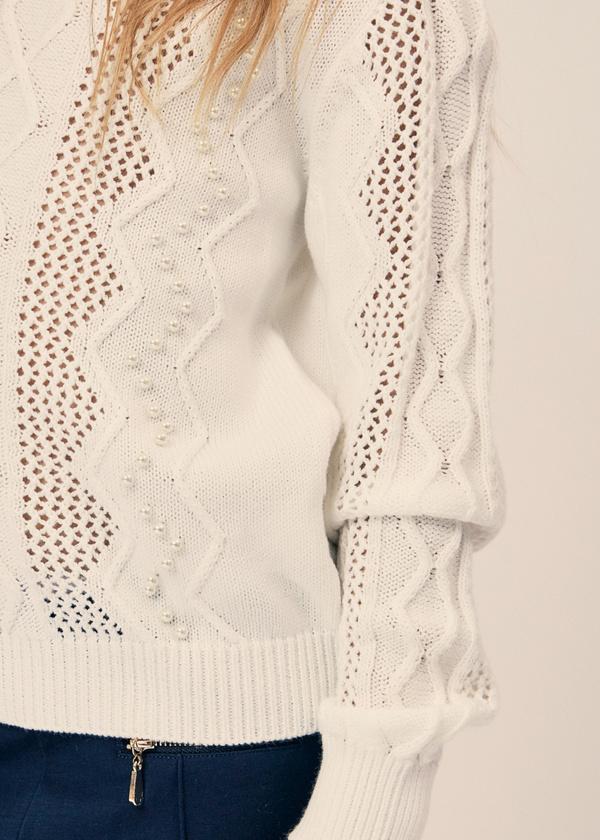 Джемпер ажурной вязки с бусинами - фото 2