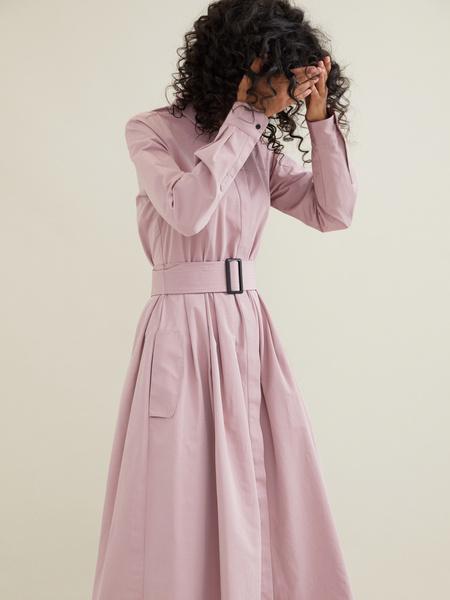 Платье-миди с поясом и карманами - фото 3