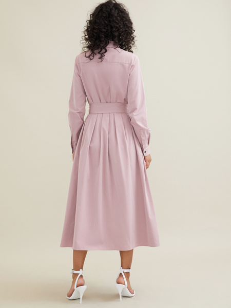 Платье-миди с поясом и карманами - фото 5