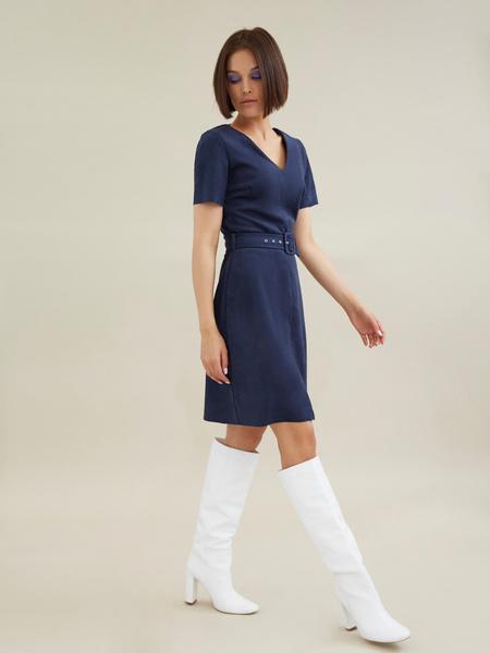 Платье с поясом имитация замши - фото 5