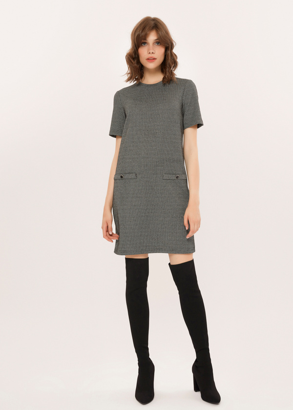 Платье-мини с имитацией карманов - фото 2