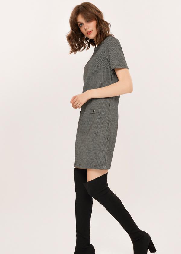 Платье-мини с имитацией карманов - фото 5