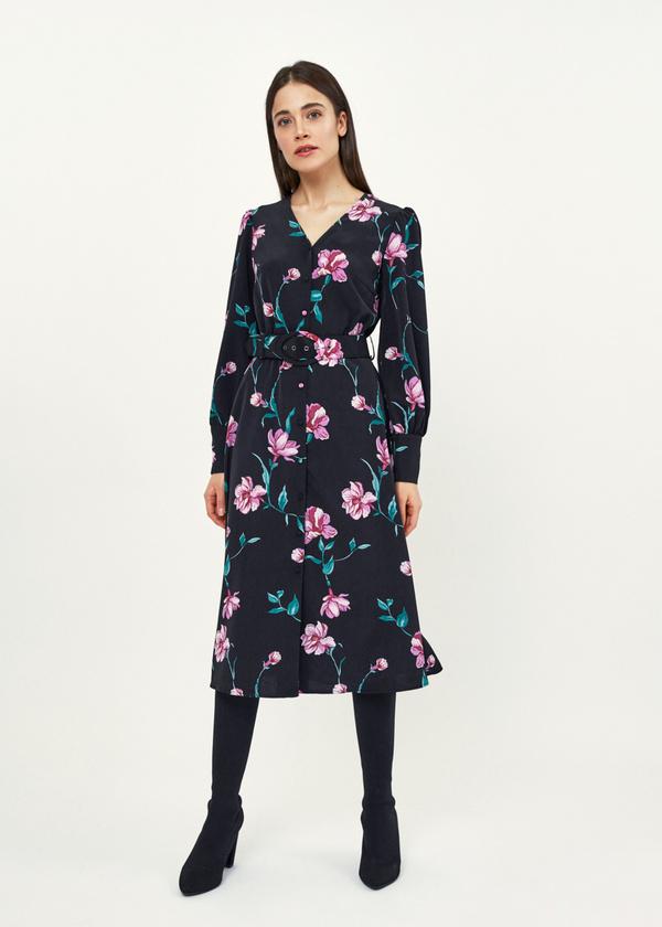 Платье-миди с цветочным принтом - фото 2