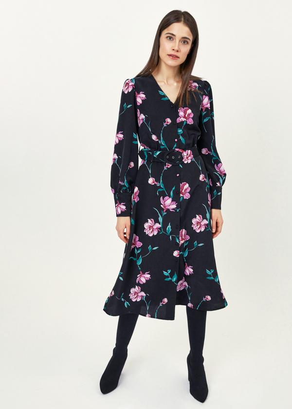 Платье-миди с цветочным принтом - фото 4
