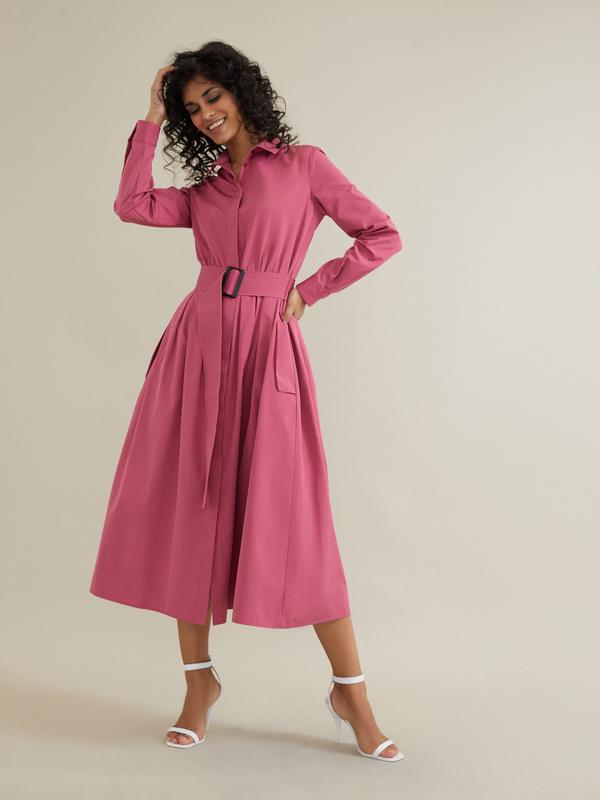 Платье-миди с поясом и карманами - фото 1