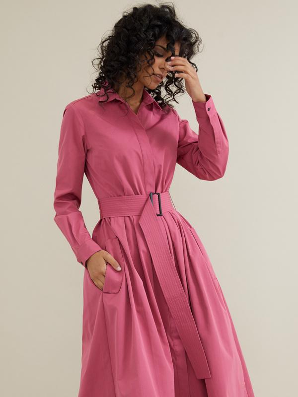 Платье-миди с поясом и карманами - фото 2