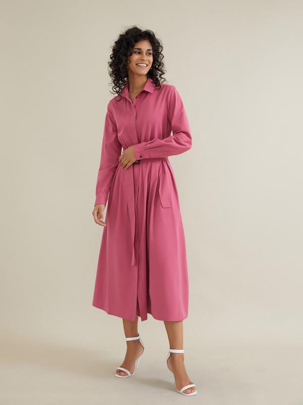 Платье-миди с поясом и карманами - фото 4