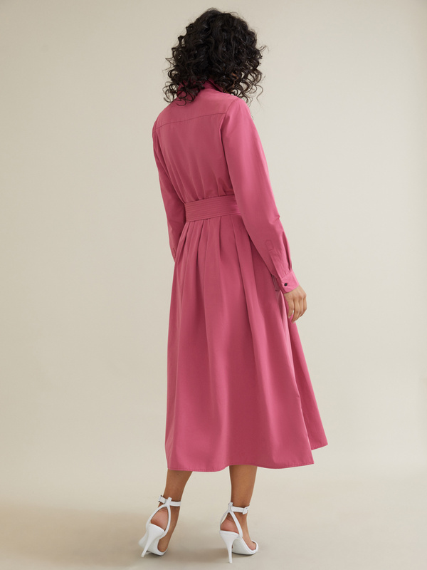 Платье-миди с поясом и карманами - фото 6