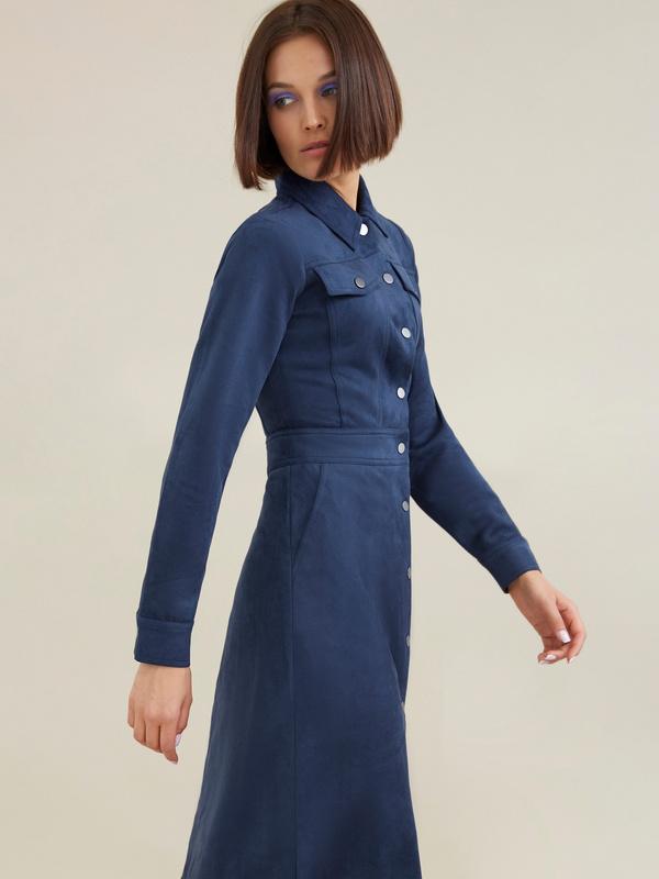 Платье с карманами имитация замши - фото 1