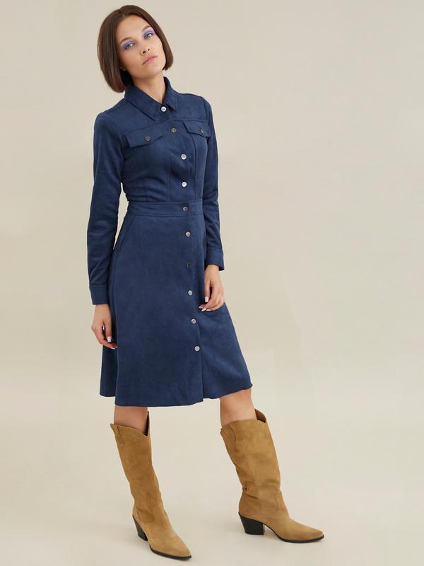 Платье с карманами имитация замши - фото 2