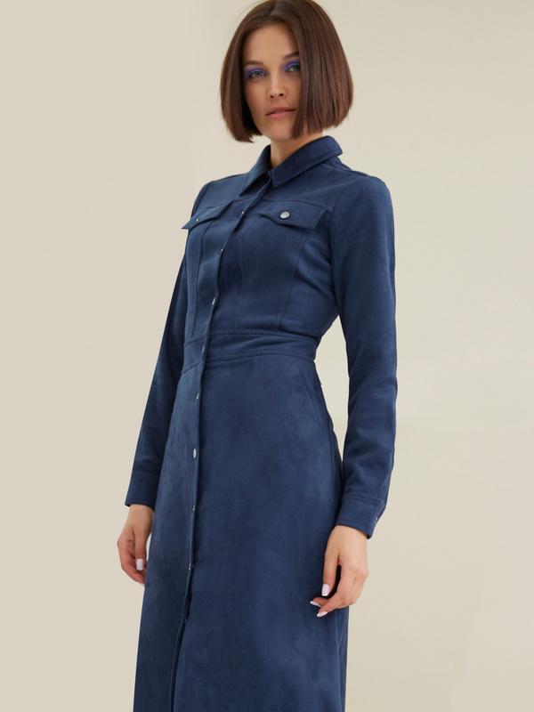 Платье с карманами имитация замши - фото 3