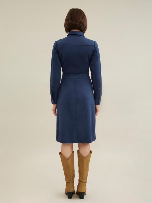Платье с карманами имитация замши - фото 4