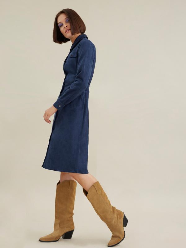 Платье с карманами имитация замши - фото 5