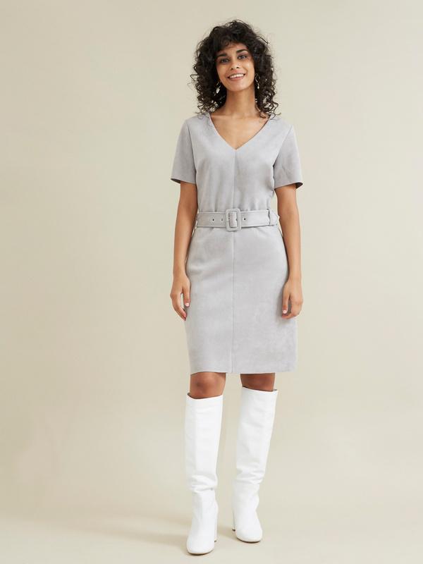 Платье с поясом имитация замши - фото 1