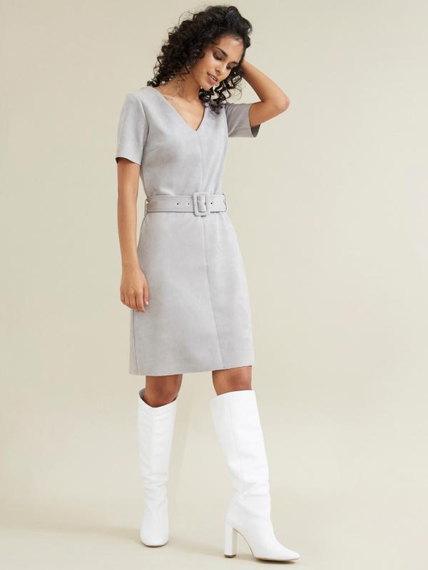 Платье с поясом имитация замши - фото 6