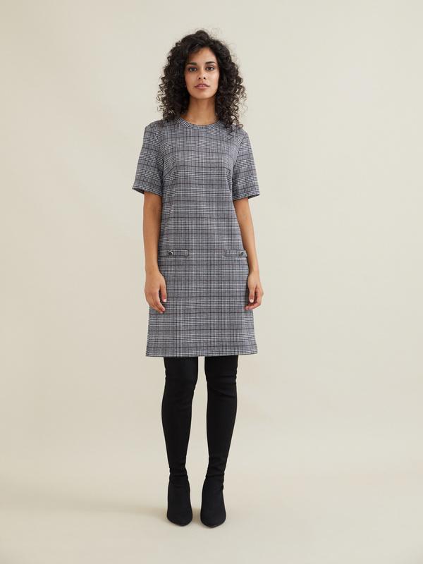 Платье-мини с имитацией карманов - фото 1
