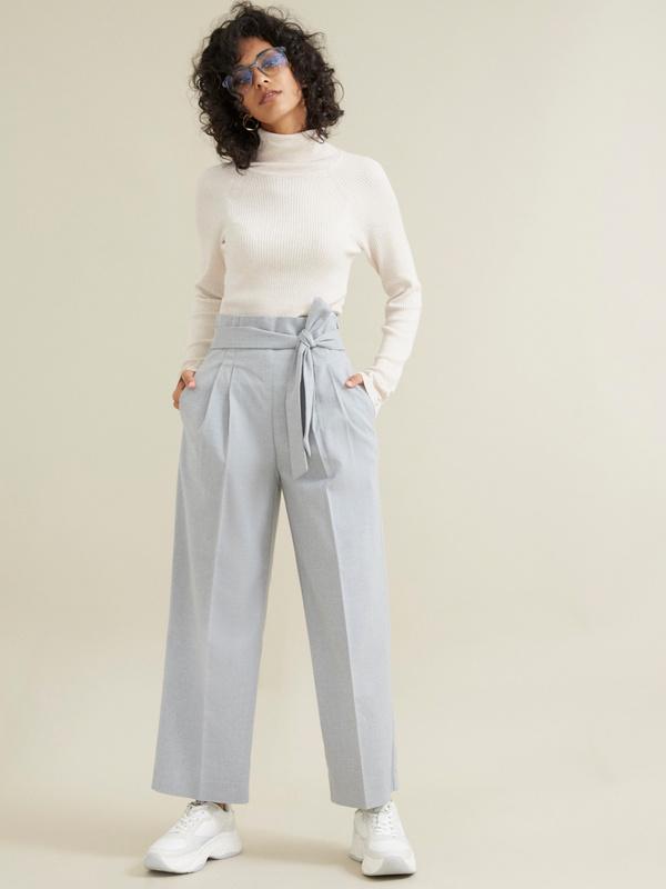 Широкие брюки на поясе с защипами - фото 1