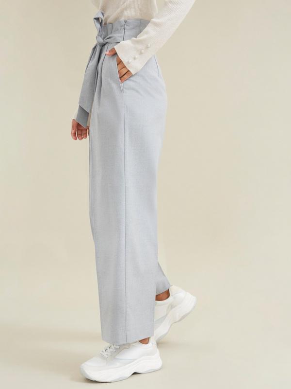 Широкие брюки на поясе с защипами - фото 3